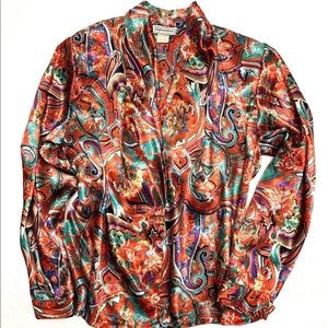 Shiny Vintage Blouse Deep V Neck Long Sleeve 8 Med